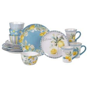 Citron 16-Piece Patterned Multi-Colored Earthenware Dinnerware Set (Service for 4)