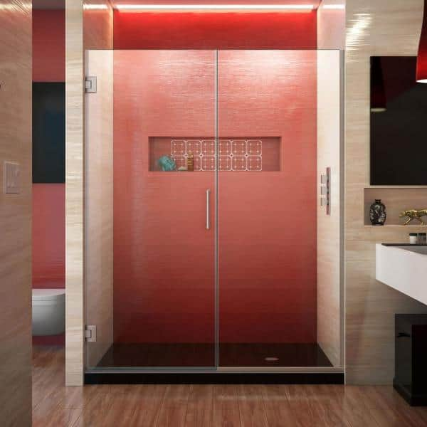 Dreamline Unidoor Plus 60 To 60 5 In X 72 In Frameless Hinged Shower Door In Brushed Nickel Shdr 246007210 04 The Home Depot