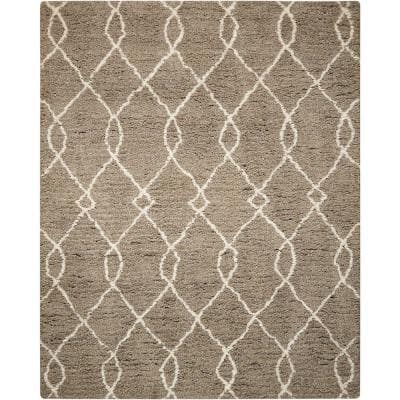 Galway Mocha/Ivory 8 ft. x 10 ft. Shag Contemporary Area Rug