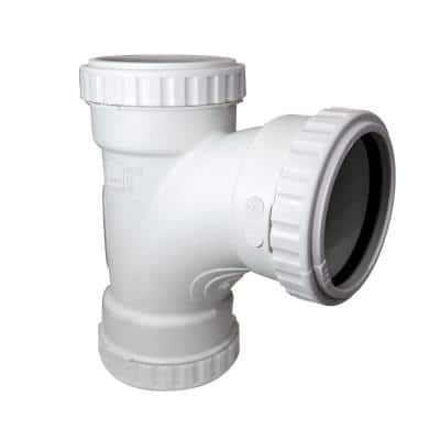 1-1/2 in. Glueless Soundproof DWV Sanitary Tee Push-Tighten Compression Fitting for PVC/ABS Pipe (4-Pack)