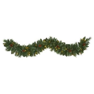 6 ft. Battery Operated Pre-lit White Mountain Pine Artificial Garland with 35 White Warm LED Lights and Pinecones