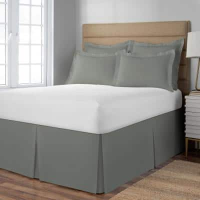 Extra Long 21 in. Drop Length Silver Bed Skirt
