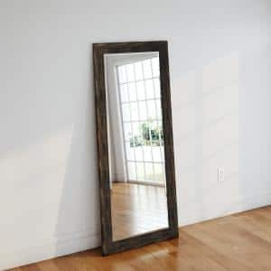 Oversized Brown Wood Cottage Farmhouse Rustic Mirror (71 in. H X 30.5 in. W)