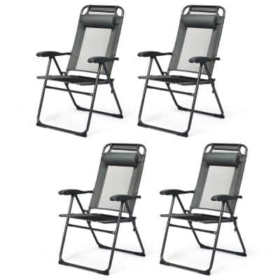Gray Metal Folding Lawn Chair (Set of 4)