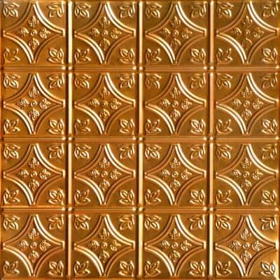 Tiny Tiptoe 2 ft. x 2 ft. Nail Up Tin Ceiling Tiles Surface Mount Lincoln Copper (48 sq. ft./case)