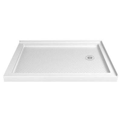 SlimLine 48 in. W x 36 in. D Double Threshold Corner Shower Pan Base in White with Right Hand Drain
