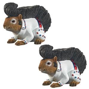 Elmer the Rock and Roll Squirrel Garden Statue Set (2-Piece)
