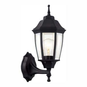 1-Light Black Dusk-to-Dawn Outdoor Wall Lantern Sconce