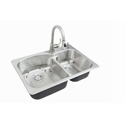 All-in-One Stainless Steel 33 in. 2-Hole Double Bowl Dual Mount Kitchen Sink with Faucet with Brushed
