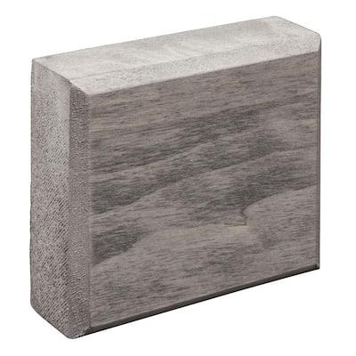Prestained Gray 13/16 in. x 3-1/2 in. x 3-1/2 in. Wood Rosette Block