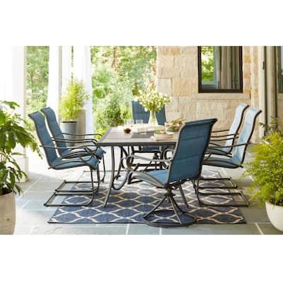 Crestridge Steel Padded Sling C-Spring Outdoor Patio Dining Chair in Conley Denim (2-Pack)
