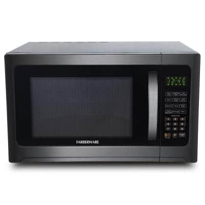 Black 1.2 cu. ft. Countertop Microwave in Stainless Steel with Grill Function, Black Stainless Steel