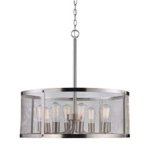 Mesh 24.75 in. 8-Light Brushed Nickel Pendant with Metal Shade