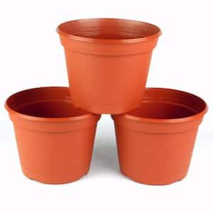 8 in. Terra Cotta Plastic Round Pot (3-Pack)