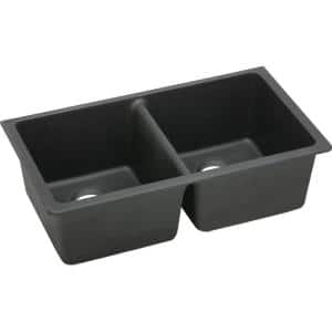 Quartz Classic Black Quartz 33 in. Equal Double Bowl Undermount Kitchen Sink