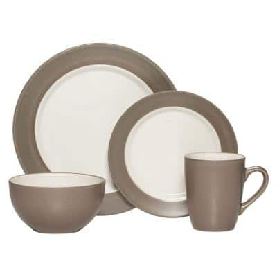 Harmony 16-Piece Casual Taupe Stoneware Dinnerware Set (Set for 4)