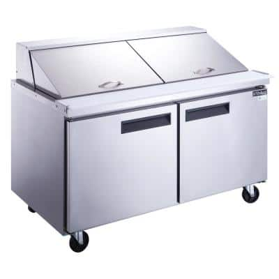 60 in. W 14.3 cu. Ft. 2-Door Commercial Food Prep Table Refrigerator in Stainless Steel with Mega Top