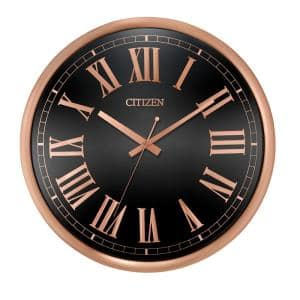 Gallery Circular Clock In Rose Gold-Tone with Black Dial and Roman Numeral Markers