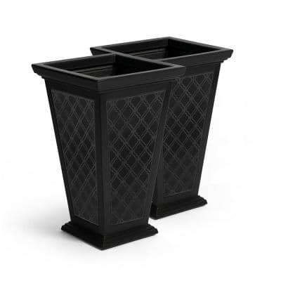 Tall 15 in. x 24 in. Black Plastic Casablanca Planter (2-Pack)