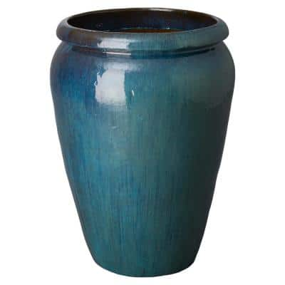30 in. Dia Teal Round Ceramic Planter with a Lip