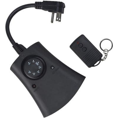 8.3 Amp 24-Hour Outdoor Wireless Remote Photocell 3-Outlet Control Timer, Black