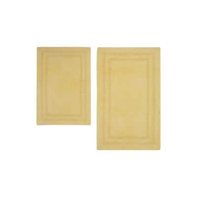 Reversible Cotton Soft Double Border Banana 2-Piece Bath Mat Set
