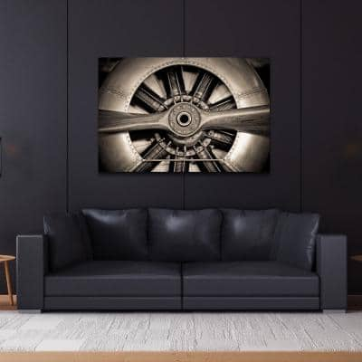 """48 in. x 32 in. """"Plane Propeller"""" Frameless Free Floating Tempered Glass Panel Graphic Art Wall Art"""