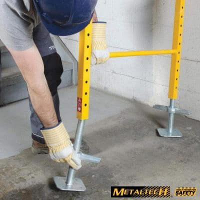 12 in. Adjustable Leveling Jack in Galvanized Steel, Safety Equipment for Baker Style Construction Scaffolding (4-Pack)