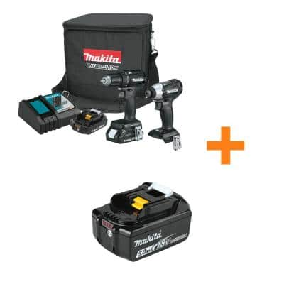 18-Volt LXT Sub-Compact Brushless 2-Piece Combo Kit (Driver-Drill/Impact Driver) 2.0Ah with bonus 18V 5.0Ah LXT Battery