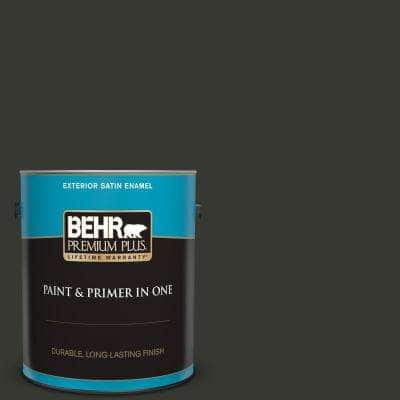 1 gal. #T13-3 Black Lacquer Satin Enamel Exterior Paint and Primer in One