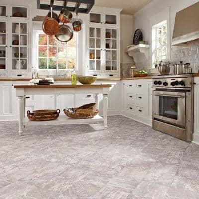 Smoked Opal Stone Residential/Light Commercial Vinyl Sheet Flooring 12ft. Wide x Cut to Length