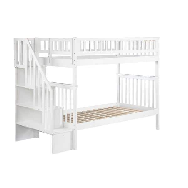Atlantic Furniture Woodland Staircase Bunk Bed Twin over Twin in White   The Home Depot