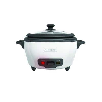 6-Cup White and Grey Rice Cooker with Food Steaming Basket and Non-Stick Rice Pot