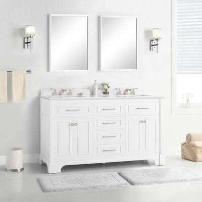 Melpark 60 in. W x 22 in. D Bath Vanity in White with Cultured Marble Vanity Top in White with White Sink