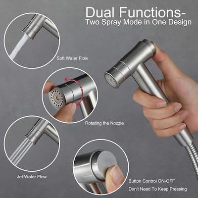 Stainless Steel Hand-held Bidet Toilet Sprayer Set in Silver