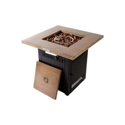 28 in. Square 50000 BTU Steel Propane Fire Pit Table in Wood Look