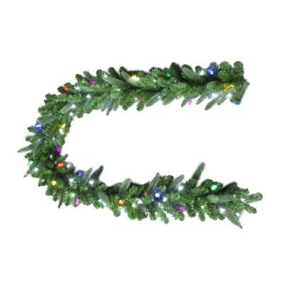 9 ft. Royal Grand Spruce Artificial Garland with Cool white and Multi Lights