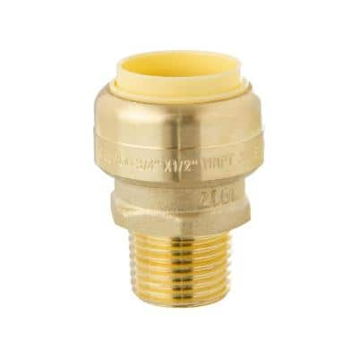 3/4 in. Push-Fit x 1/2 in. Male Pipe Thread Brass Coupling