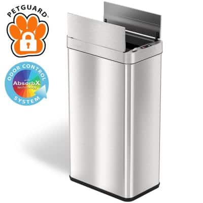 18 Gal. Stainless Steel Wings Open Sensor Trash Can with AbsorbX Odor Filter and PetGuard