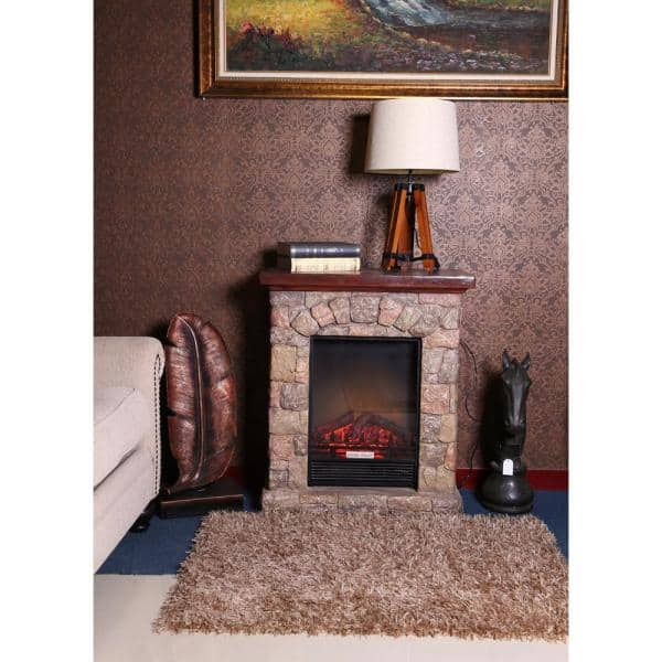 Luxenhome Polystone Cottage 30 1 In Freestanding Electric Fireplace Heater Mantel And Remote In Brown Whif632 The Home Depot