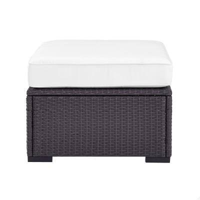 Biscayne Wicker Outdoor Patio Ottoman with White Cushions