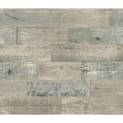 Beige Coastal Wood Wall Applique Peel and Stick Backsplash