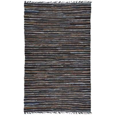Mixed Brown Leather 4 ft. x 6 ft. Area Rug