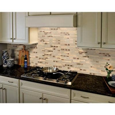 Champagne Toast Interlocking 12 in. x 12 in. x 4 mm Glass/Metal/ Stone Mesh-Mounted Mosaic Tile (1 sq. ft.)