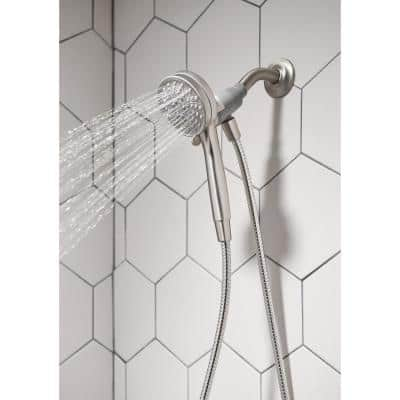 Attract with Magnetix 6-Spray 3.75 in. Single Wall Mount Handheld Adjustable Shower Head in Spot Resist Brushed Nickel