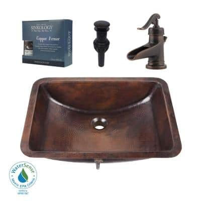 Curie All-In-One 21 in. Undermount Copper Bathroom Sink with Pfister Centerset Rustic Bronze Faucet and Drain