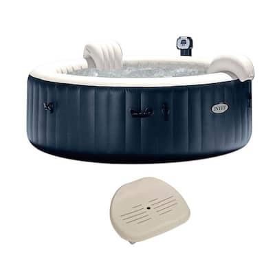 Pure Spa Inflatable 6 Person Outdoor Bubble Hot Tub + Non Slip Seat Insert