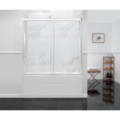 Montebello 60 in. x 59 in. Frameless Sliding Bathtub Door in Chrome with Handle