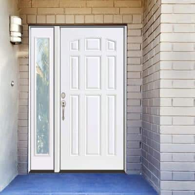 53 in. x 80 in. 9-Panel Primed White Right-Hand Steel Prehung Front Door with 14 in. Clear Glass Sidelite 6 in. Wall