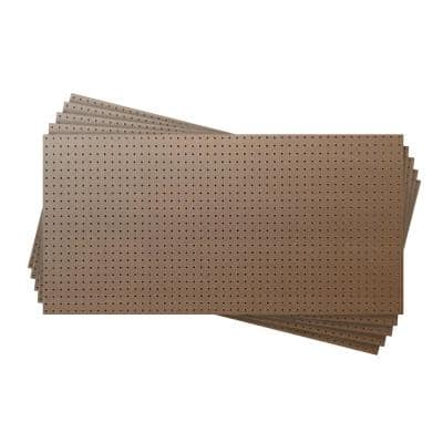 1/8 in. x 48 in. x 24 in. Tempered Brown Pegboard Hardboard Wainscoting Panel Kit (5-Pack) 40 sq. ft.